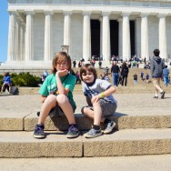 Aidan & Augie at the Lincoln Memorial