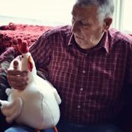 pop pop checks out the chicken