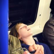 asleep on the tube